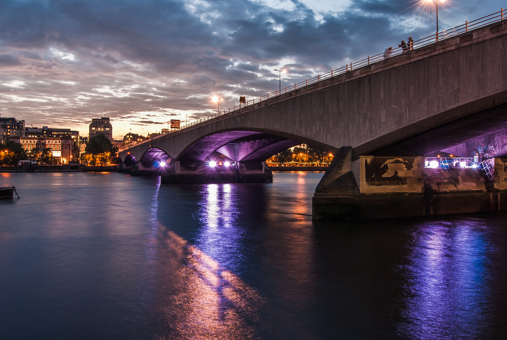 waterloo bridge in the evening