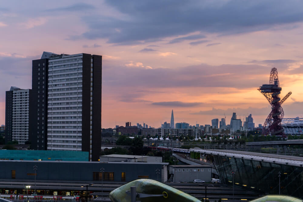 Sunset in Stratford, London